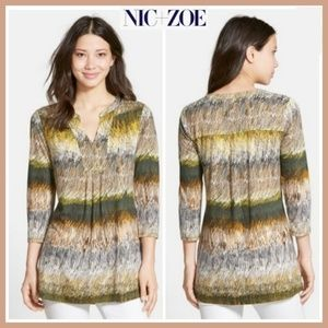 Anthro Nic+Zoe graphic print split neck tunic sz S